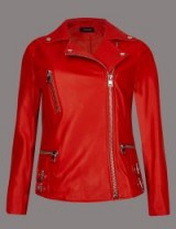 AUTOGRAPH Leather Biker Coat / poppy red jackets / Marks and Spencer clothing