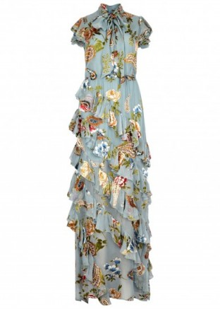ALICE + OLIVIA Lessie fil coupé chiffon maxi dress – ruffled dresses