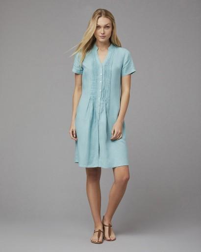 EAST LINEN SHORT SLEEVE PINTUCK DRESS / duck egg blue dresses