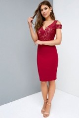 LITTLE MISTRESS BERRY BAROQUE DRESS ~ fitted red cold shoulder dresses