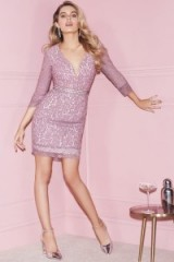 LITTLE MISTRESS ROSE LACE BODYCON ~ fitted pink party dresses