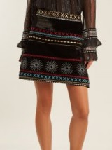 DODO BAR OR Liya embroidered velvet mini skirt