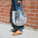 LOEFFLER RANDALL RUFFLE WRISTLET – silver metallic handbags