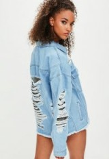 londunn + missguided oversized denim chainmail embellished jacket ~ distressed jackets