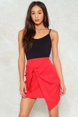 Nasty Gal Lover's Knot Mini Skirt ~ red wrap skirts