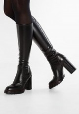 MA&LO High heeled boots avirex nero | chunky black winter knee high boot