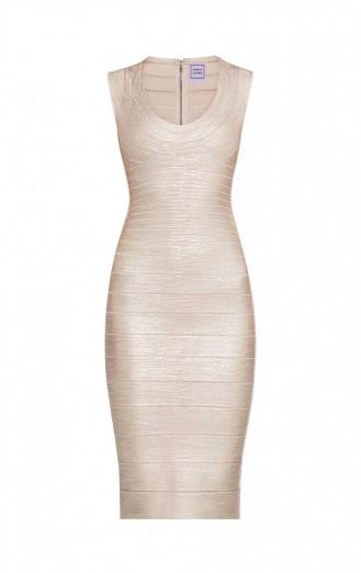 HERVE LEGER MAIRA WOODGRAIN FOIL-PRINT BANDAGE DRESS – rose gold bodycon – luxe dresses