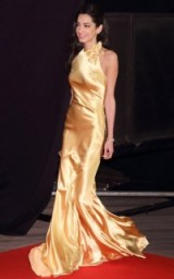 Amal looked stunning in this fluid gold evening gown at the Tokyo premiere of Tomorrowland ~ celebrity glamour ~ Hollywood style