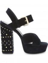 MAJE Suedette studded block heels