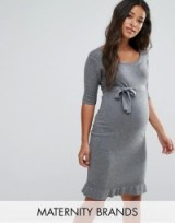 Mamalicious Knitted Dress With Pleat Detail Hem ~ grey knit maternity dresses