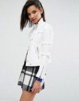 Mango Ring Pull And Ruffle Detail Jacket ~ white faux leather jackets