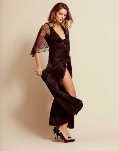 Agent Provocateur Marla Gown Black ~ beautiful silk and lace nightwear - flipped