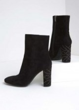 MINT VELVET MAYA BLACK EYELET ANKLE BOOT / suede boots