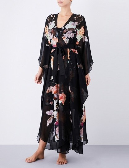 MENG Floral-print silk-chiffon robe ~ luxury robes ~ luxe nightwear - flipped
