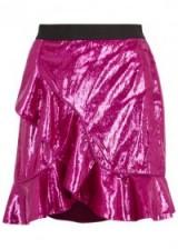 SELF-PORTRAIT Metallic pink ruffle-trimmed skirt ~ ruffled skirts