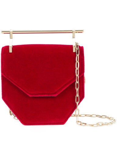 M2MALLETIER top-bar geometric shoulder bag / small red velvet handbags / contemporary style bags