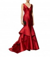 Monique Lhuillier Ruffled Hem Mikado Gown – red ruffle gowns