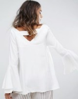 Moon River Back Ring Detail Woven Top | ivory V-neck fluted sleeved tops