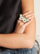 GUCCI Moth-embellished double ring ~ statement rings