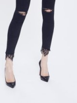 MOTHER Swooner Dagger Ankle Fray Baa Baa Black Sheep | lace hem skinny jeans | ripped denim