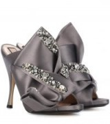 N°21 Ronny 110 crystal-embellished satin sandals | luxe taupe heels