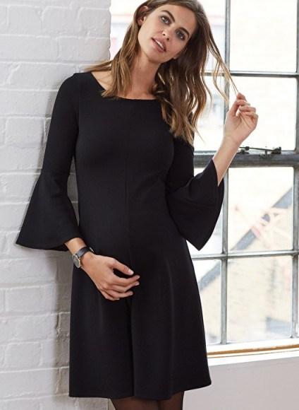 ISABELLA OLIVER NATALIA MATERNITY KICK DRESS ~ black flared sleeve dresses - flipped