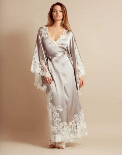 Agent Provocateur Nayeli Long Kimono Ivory And Silver ~ luxury lace robes ~ nightwear kimonos ~ luxe dressing gowns - flipped