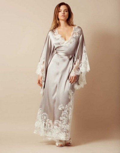 Agent Provocateur Nayeli Long Kimono Ivory And Silver ~ luxury lace robes ~ nightwear kimonos ~ luxe dressing gowns