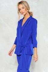 NASTY GAL New Wave Tie Waist Blazer ~ cobalt-blue evening blazers ~ going out jacket & trousers suits ~ party fashion