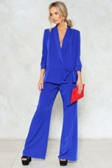 NASTY GAL New Wave Wide-Leg Pants ~ cobalt blue wide leg trousers ~ evening trouser suits ~ party fashion