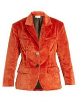 ISA ARFEN Notch-lapel crushed-velvet cotton-blend jacket – dark orange jackets – jewel tones