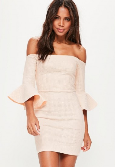 Missguided nude bardot fishnet frill bodycon dress – party dresses – going out fashion