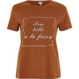 River Island Orange 'sois belle' print fitted T-shirt #tops #tees #casual