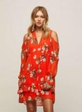 Miss Selfridge Orchid Print Smock Floral Dress ~ cold shoulder dresses