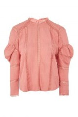 Topshop Ovoid Sleeve Blouse | rose-pink vintage style blouses