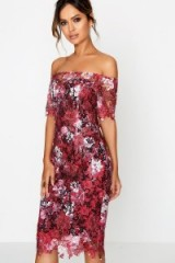 PAPER DOLLS WINE BLOSSOM PRINT BODYCON DRESS ~ red floral off the shoulder party dresses