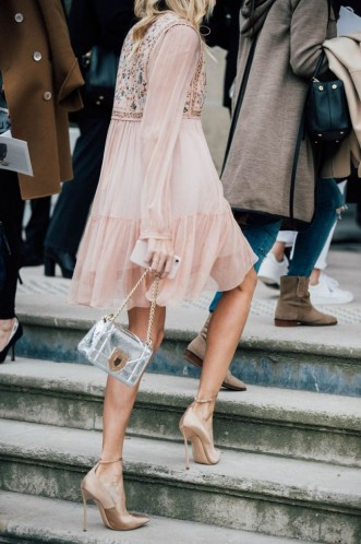 pale pink embroidered dress accessorised with silver bag and nude heels #paris #streetstyle