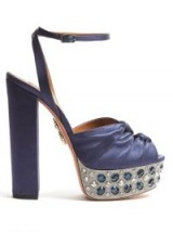 AQUAZZURA Party Plateau crystal-embellished satin sandals ~ blue jewelled platforms
