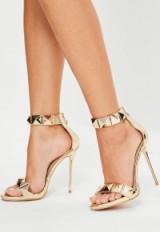 Missguided peace + love pyramid studded heels – metallic high heels