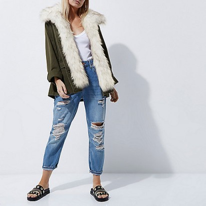 RIVER ISLAND Petite khaki fur trim army jacket – fluffy winter jackets