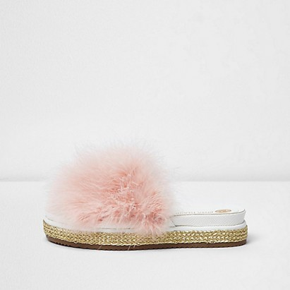 River Island Pink feather metallic espadrille sliders