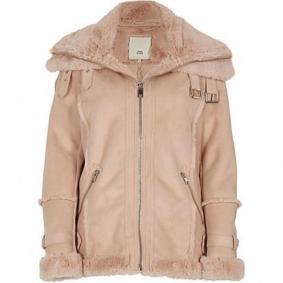 River Island Pink fur trim aviator jacket