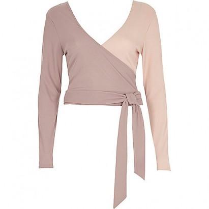 RIVER ISLAND Pink wrap tie ballet crop top