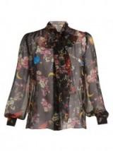 DOLCE & GABBANA Planetarium Rose-print silk-chiffon blouse