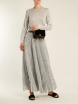 MISSONI Pleated geometric-knit midi skirt ~ metallic silver pleated skirts