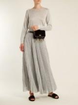 MISSONI Pleated geometric-knit midi skirt ~ metallic silver pleated skirts