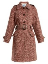 PRADA Point-collar single-breasted wool coat – belted pink tweed coats – classic winter style