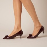 L.K. BENNETT PORTIA OXBLOOD PATENT LEATHER COURTS / dark red court shoes