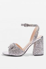 RAZZLE Glitter Block Heel Sandals | glittering silver shoes | Topshop footwear
