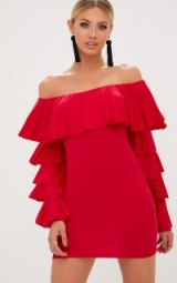 Pretty Little Thing RED RUFFLE SLEEVE BARDOT BODYCON DRESS – off the shoulder dresses